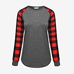 LHZMLO 5XL Plaid Patchwork Camiseta De Mujer Manga Larga Cuello Redondo Camiseta Mujer Otoño Primavera Ropa Casual Mujer-Red,XL