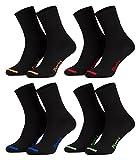 43-46/8 Paar Business Socken, Anzugsocken ohne Gummibund Baumwolle | Herren Damen | 8er Pack | schwarz-farbige Spitze
