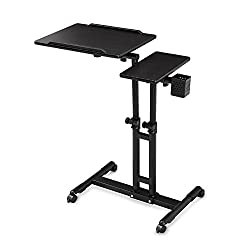 Herme Adjustable Height Rolling Laptop Desk Table Tattooing Work Cart