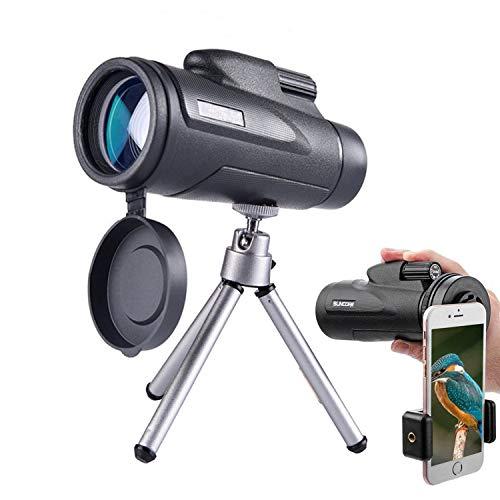 Telescopio Monocular 12 x 50, HD Prismático Portátil Telescópico con Trípode y Clip Teléfono, Ideal...