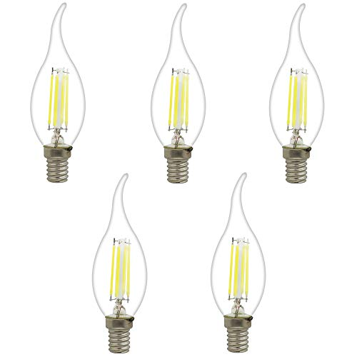 5 Stück E14 LED Birnen Kerzenform Ersetzt 30W Glühbirne 4W C35 360LM Kaltweiß 6000K,LED Kerzenlampe Kronleuchter Kerzenleuchten -