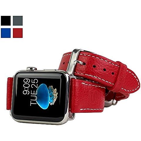 Snugg™- Apple Watch - Correa de Reloj De Cuero Verdadero (Rojo) - 42 mm Correa Para el Apple Watch