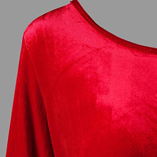 Hffan Damen SAMT Elegant Plüschkante Langarm Rundhals Hohe Taille Festliches Kleid Schön Weihnachtskleid A-Linie Kleid Modisch Kurzes Kleid Freizeit Casual Minikleid(Rot,S) - 4