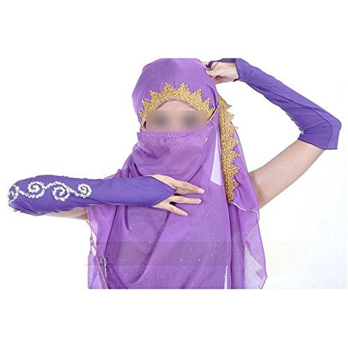 Beliebt Modisch Chiffon Bauchtanz-Kostüm Tanzbekleidung Umhangtuch Schleier Mantilla Schal Violett (Modische Tanzbekleidung)