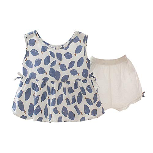 Sommerkleid Kinder Ärmellose Fruits Lemon Print Bow Tops für Kleinkinder + solide Shorts-Outfits