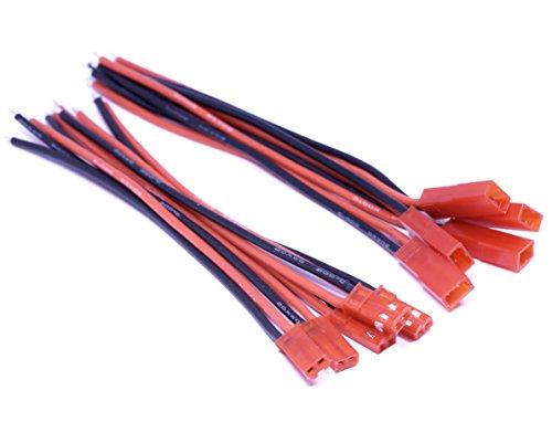 VUNIVERSUM 5 Paar (10 Stück) 2Pin Original Premium JST BEC Stecker Buchse Male Female inkl. 15cm 20AWG Silikon Kabel Enden 3mm verzinnt RC von Mr. Stecker Modellbau®