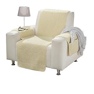Erwin Müller Sesselschoner mit Armlehnenschoner – mit Seitentaschen – Sesselbezug – Sesselüberwurf – Sesselschutz – Natur – Größe Relaxsessel – 100% Wolle