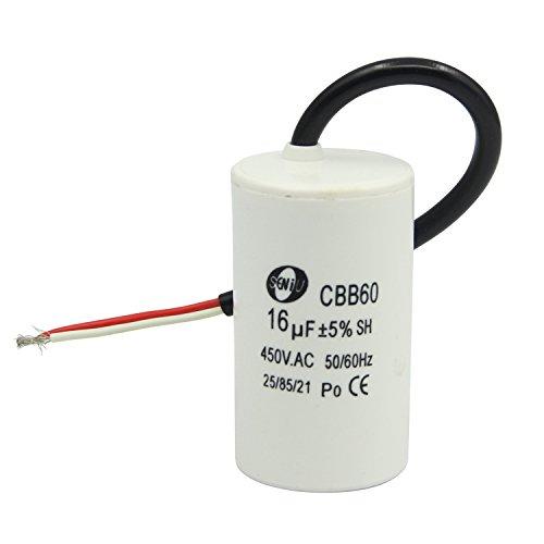 Vcocoal CBB60 AC 450V Condensateur 16uF Filaire Moteur Lancez Demarrage SH Condensateur 50/60Hz