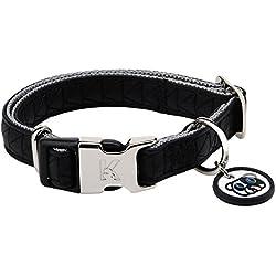 Karl Lagerfeld Collar para Perro Mascota de Cuero Suave, Ajustable, Color: Negro, Talla: 20