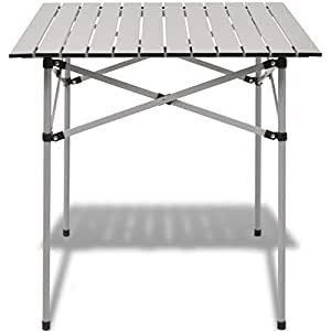 Anself Folding Roll Up Table with Carrier Bag for Picnic Camping Fishing Outdoor 70x70x(35-70) cm