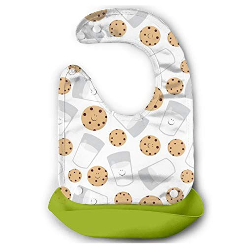 Happy Milk And Cookies White Baby Bibs Silicone Lightweightfor Baby Feeding 13 X 8.5 inch inch-Green