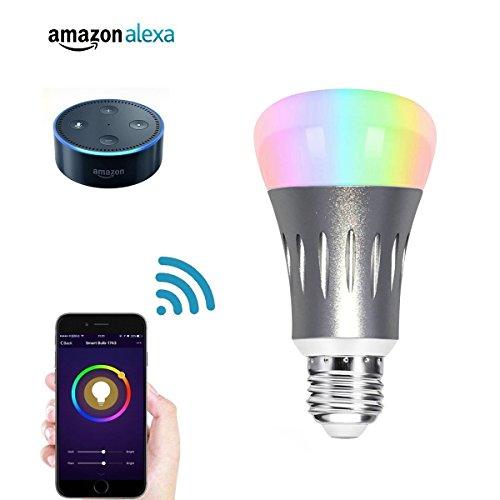 VIGICA Smart Led Glühbirne E27 WiFi Lampen App Fernbedienung RGB Wireless Dimmbar Intelligente Leben Energiesparlampen kompatibel mit Echo Hub [EnergieklasseA+]
