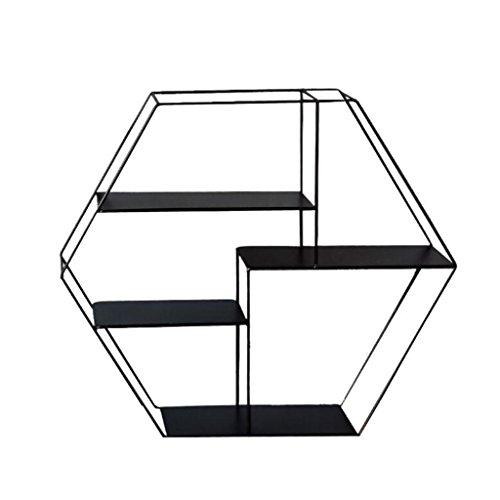 AIDELAI Schweberegale Hängeregale Hexagon-Wand-Regal-Metalleisen für Bar-Wohnzimmer LOFT-Wand-hängendes Würfel-Regal für Schlafzimmer als Bücherregal-Lagerregal-Rahmen als industrielle Art der Wand | Wohnzimmer > Regale > Hängeregale | Eisen | AIDELAI
