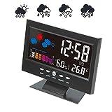 AMY Smart-Wetterstation, Accurate Indoor Außentemperatur Und Luftfeuchtigkeit Mit Sprachaktivierte Beleuchtung Wecker/Snooze Funktion Verwendung Für Heim