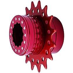 Cervus Juego de conversión de Cassette Shimano, para Bicicleta Fixie de una Sola Velocidad, 16 Dientes, Color Rojo