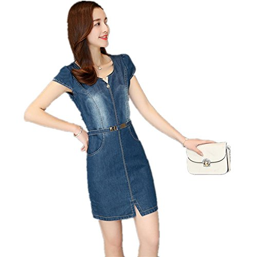 SHISHANG Frauen-Denim-Kleid im europäischen Stil verwaschenen Jeans lose um den Hals Denim Baumwolle blau Blue