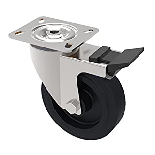 BIL SSMH125ANSWB Series SSMH Castor, American Phenolic, Braked Type, 125 mm Diameter, 158 mm Height, 100 mm x 85 mm Plate, 230 kg Load, 40 mm Tread, 125 mm Radius, Black
