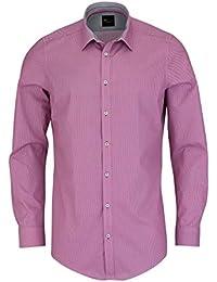 VENTI Body Fit Hemd super langer Arm New Kent Kragen Muster pink AL 72