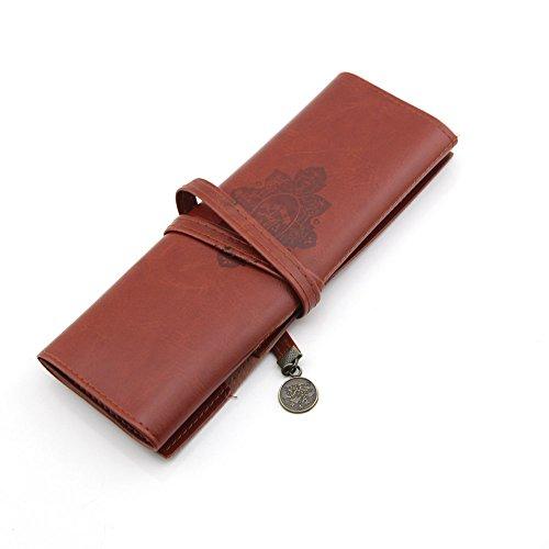 Preisvergleich Produktbild owfeel PU Leder multifunktional aufrollbar Pen Pencial Fall Pocket Tasche Kosmetik Make-up Tasche Coffee-color