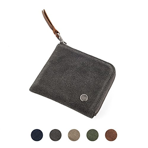QIOTTI Zipper Wallet Raw Geldbörse [ Alcantara / Velour Kalbsleder ], Reißverschluss Zipper [ Premium YKK Zipper ] [ UNISEX ] Kartenhalter Münzen Geldbeutel (RAW PLATIN) (Zipper Wallet)