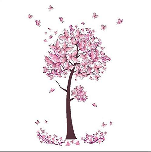 Rosa schmetterling blume Baum Wandaufkleber Abziehbilder Mädchen Frauen Blume Wandvinyl Tapete Home Wohnzimmer Schlafzimmer Decor70 * 100 cm (Tier-peelings Für Frauen)