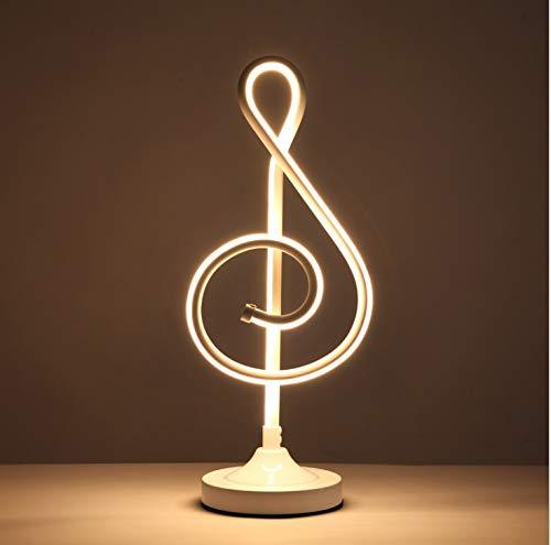 Chuen Lung Dimmbare LED Nachttischlampe, Musiknote Tischlampen Moderne LED Schreibtischlampe, Minimalistischer Nachtstandleselicht für Büro (Farbe : Weiß, größe : Stufenloses Dimmen)