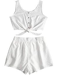 972d02c35fb ZAFUL Women s Summer Solid Sleeveless Button Up Crop Top and Shorts Set