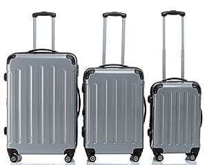 Beibye Ensemble de 3 valises rigides à roulettes Formats XL/L/cabine Argenté