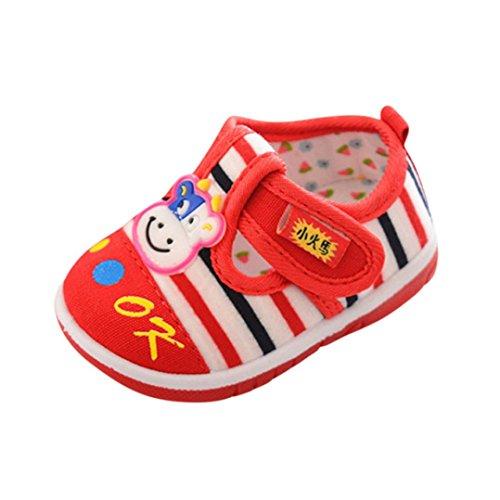 Chaussures our Bébés en Caoutchouc,Xinan Chaussures de Toile de Bébé-Chaussures Premiers Pas 0-6, 6-12, 12-18, 18-24 Mois et 2.5-3, 3-3.5 Ans,2018 (12-18 mois, Rouge)
