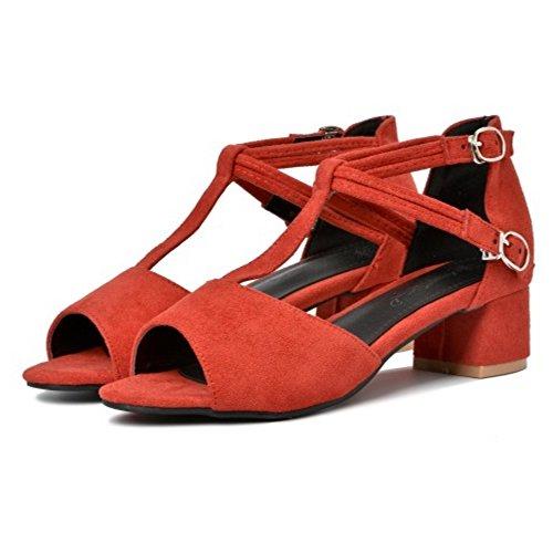 COOLCEPT Damen Mode T-Spangen Sandalen Blockabsatz Peep Toe Schuhe Rot