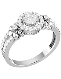 LOLLS Solid 10K Gold 0.48 CT Diamond I1 HI Round Flower Designer Halo Engagement Ring [LOLLS_GUR1204_10K]