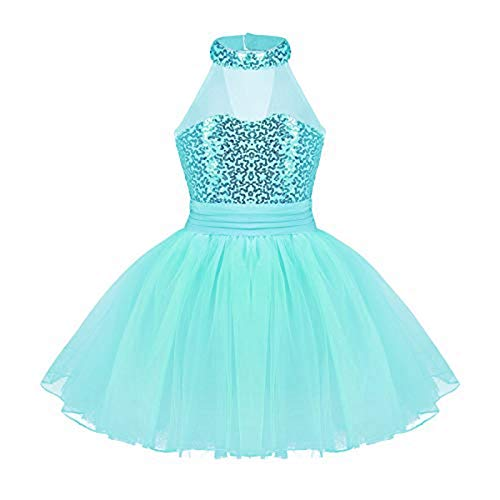 iEFiEL Kinder Ballettkleid Neckholder mit Pailletten und Mesh Röckchen, Ballett Trikot für Mädchen Ballettanzug Tanz-Kostüm Blau (Lake Blue) 128-140