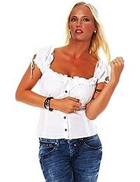10609 Fashion4Young Damen Dirndlbluse Bluse Trachtenbluse Dirndl Trachten Oktoberfest Trachtenkleid