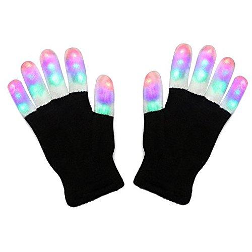 Gants LED, Jouets Lumineux et Multicolores avec 6 Modes d'Eclairage Super pour Soirées, Concerts, Bals, Fêtes, Boîtes et Autres, Alimentés par Batteries