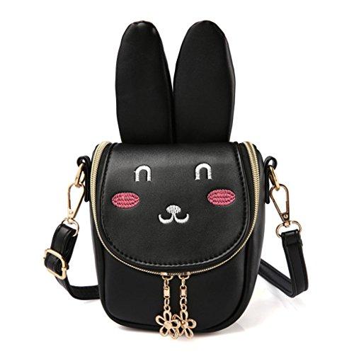 Dabixx Cute Kids Kinder Handtasche für Mädchen Schultertasche Rucksack Crossbody Handtasche Bags-Long Ear Rabbit - Schwarz