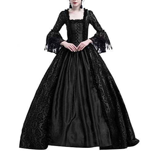 Renendi Damen Kleider Mittelalter Renaissance Queen Ballkleid Glöckchen Ärmel Maxikleid Halloween Kostüm Spitze Rock Cosplay Party Supplies Schwarz xl -