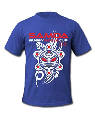 Samoa Rugby World Cup 2019 Japan Samoan Warrior Tattoo Mask T-Shirt Gr. S, blau - Rugby World Cup T-shirts