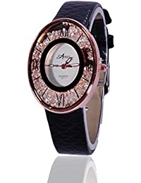 Fusine™ Amni Fashion Stone Studded 3D Leather Watch For Women (Oval) Party Wear (Black)