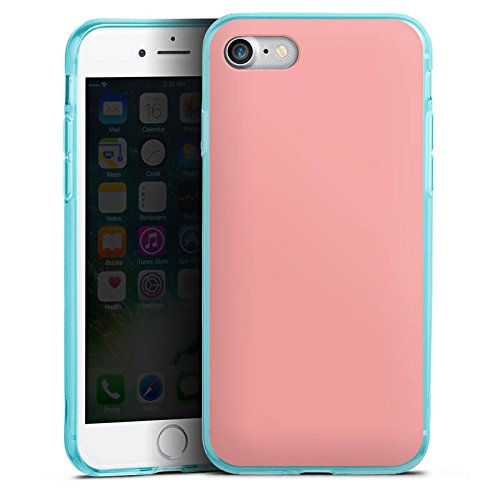 Apple iPhone 8 Silikon Hülle Case Schutzhülle Lachs helles Pink Rosa Silikon Colour Case eisblau