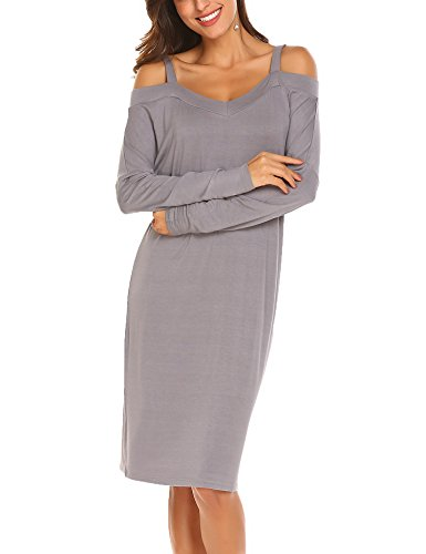 Parabler Damen Figurbetontes Kleider Strech Shirtkleid Freizeitkleid Basic Kleid Bleistiftkleid Abenkleid Langärmelig Schulterfrei Grau