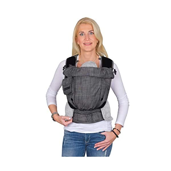 Hoppediz Bondolino Comfort Carrier for Babies Incl. Instruction, Denim-Black Hoppediz The bondolino one size is absolutely uncomplicated since there are no buckles, no push-buttons or snap locks Flexibly adjustable base for the correct spread-squat position Improved fixation of the base widening through an additional velcro fastener 3