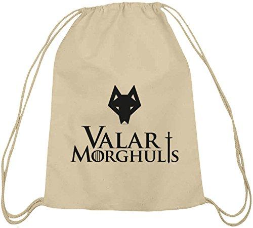 Shirtstreet24, Valar Moghulis Wolf, Baumwoll natur Turnbeutel Rucksack Sport Beutel Natur