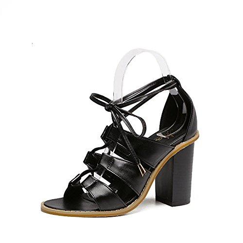 LvYuan-mxx Sandales femme / Printemps été / Rome chaussures / Cross sangles creux / talon chunky / ouvert orteil / Confort Casual / Bureau & Carrière Robe / Talons hauts BLACK-37