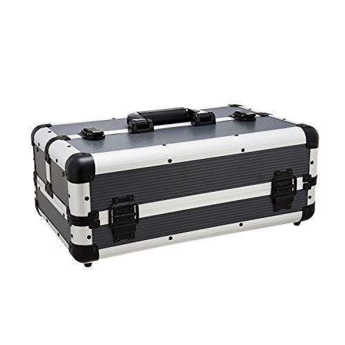 Werkzeugkoffer | Aluminium | silber/schwarz | leer | ca. 44,5 x 26,5 x 17 cm | stabiler Aufbau | robuste Metallecken | Angelkoffer | Präsentationskoffer