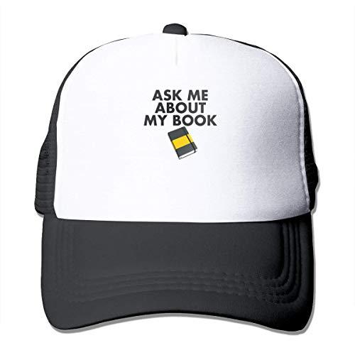 Preisvergleich Produktbild Ask Me About My Book Sunscreen Mesh Baseball Caps Trucker Hat Women's Men Black