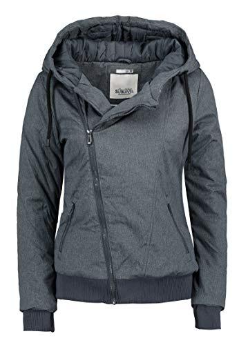 Sublevel Damen Winter Jacke mit Kapuze Übergangsjacke - warm gefüttert S-3XL Dark-Blue XL