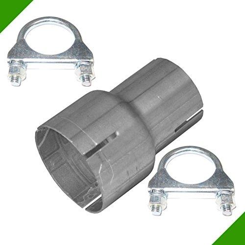 Reduzierung Rohr Reduzierstück von 45mm auf 60mm Auspuff Adapter inkl. 2 Schellen Verbindungsstück Rohrverbinder Abgasanlage Reduktion Klemmstück Reduzierverbinder -