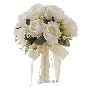 Hilai de Novia Blanco Que sostiene Las Flores del Ramo de Novia Mano Que sostiene la Cinta Hermosa con sede Artificial Flores para la Boda de la Novia