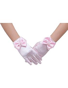 Tinksky Blumenmädchen Bowknot Handschuhe schnüren kurze Princess Handschuhe für Hochzeitsfeier (rosa)