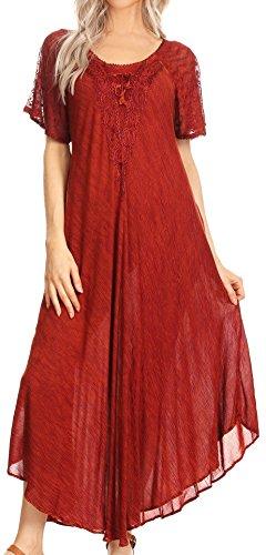 Sakkas 16611 - Helena gesticktes Lace-Up Kaftan Kleid/Cover mit Ösen Ärmeln - Rust Orange - OS -